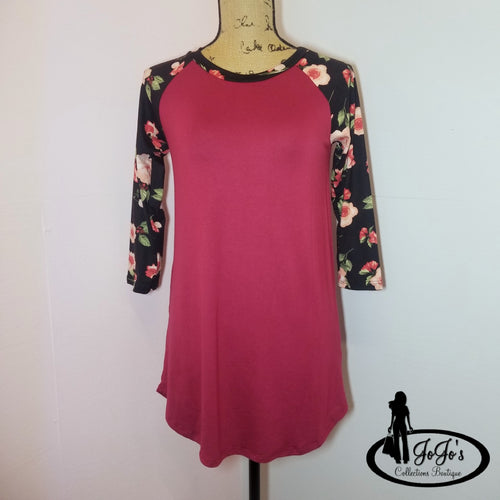 Floral Sleeve Solid Top