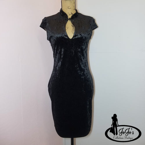 Ice Velvet Mandarin Collar Dress