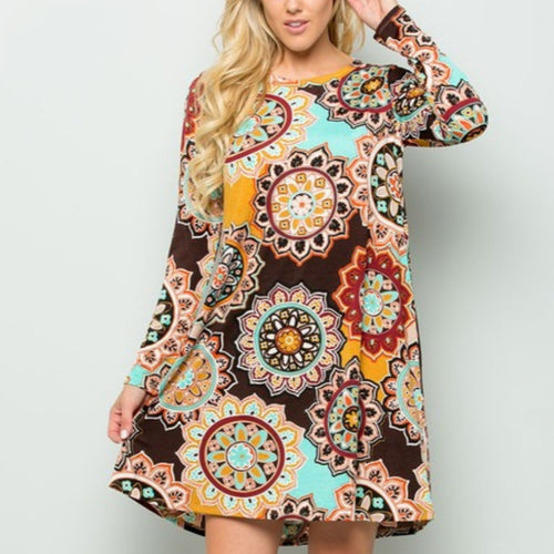 Medallion Print Dress Plus