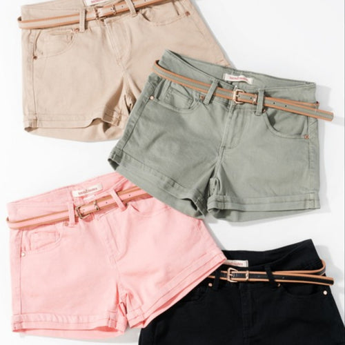 Cotton Twill Solid Shorts