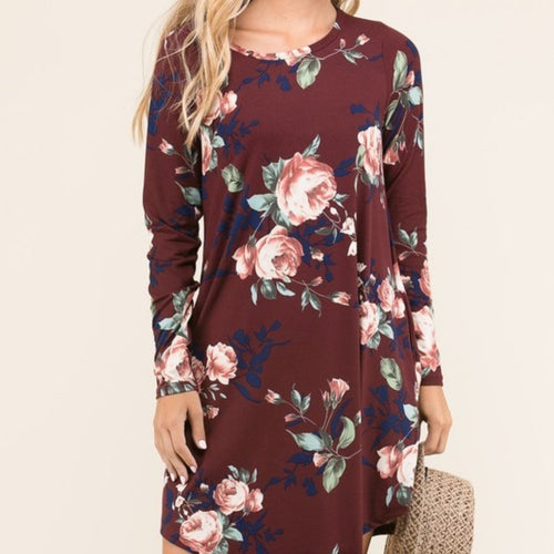 Burgundy Floral Swing Dress Plus