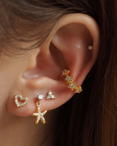 Stainless Steel - CZ Mini Starfish Stud Earrings