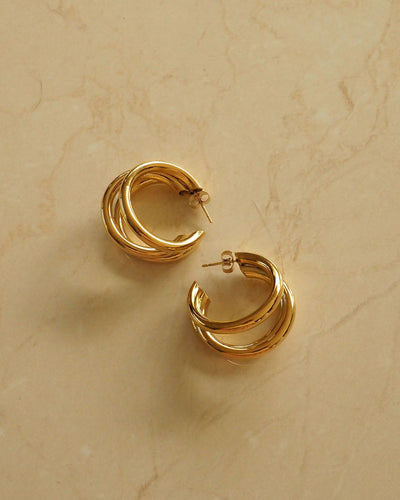 18k Gold Plated - Trio Gold Hoop Earrings
