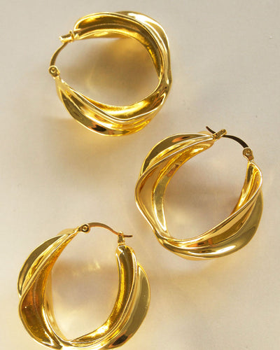 18k Gold Plated - Marie Gold Hoop Earrings