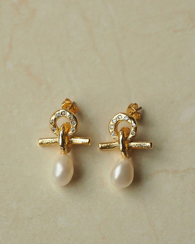 18k Gold Plated - Tahitian Pearls Gold Stud Earrings