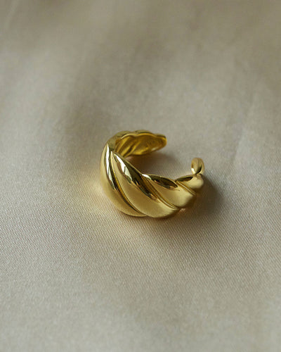 925 Sterling Silver - Croissant Dôme Gold Ring
