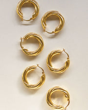 18k Gold Plated - Oria French Hoop Earrings
