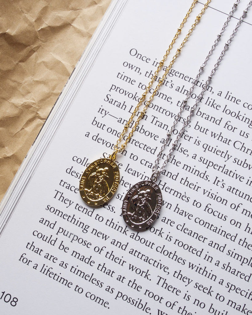 St. Christopher Medal Gold Necklace
