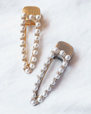 Chelsea Pearl Hair Barrette (Gold, Silver)
