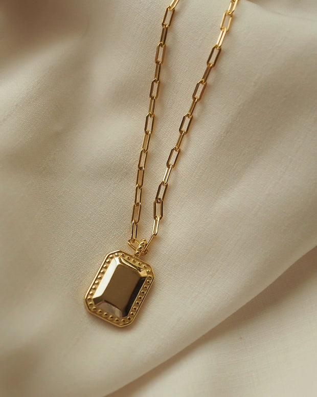 925 Sterling Silver - Sabina Gold Tag Necklace