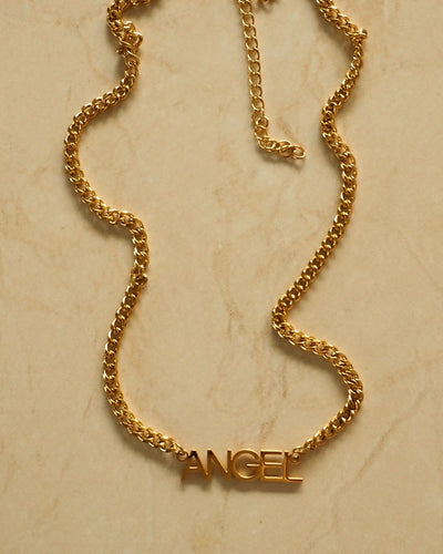 18k gold plated -  The Nameplate Personalised Curb Chain Necklace (Made to Order)
