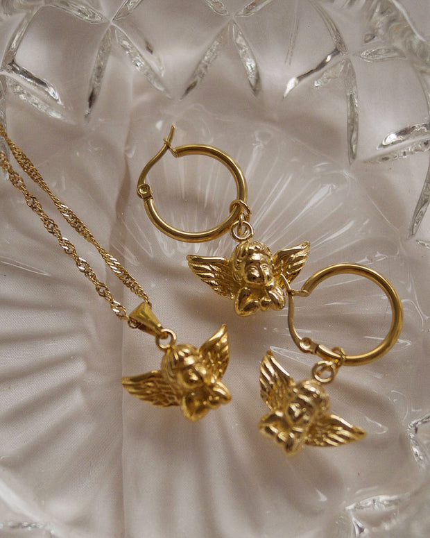 18K gold plated - Angel Pendant Necklace