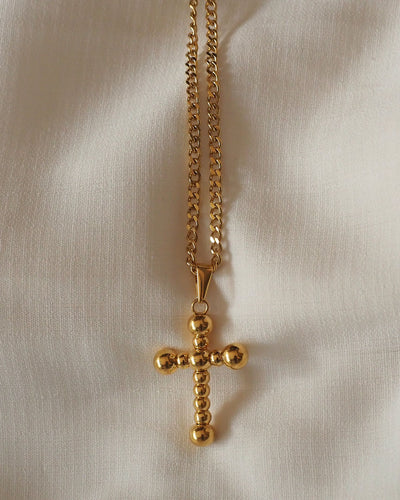 18K gold plated - Bubble Cross Necklace