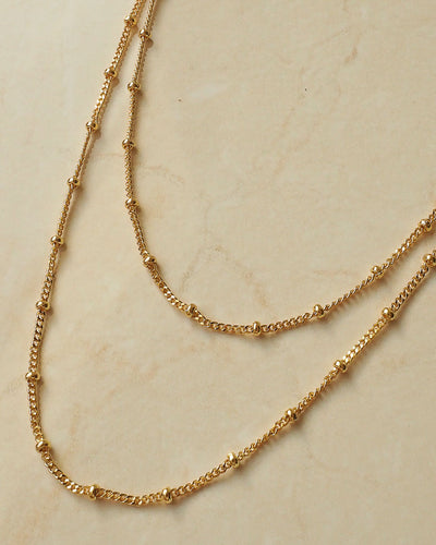 18k gold plated - Beaded layered necklace