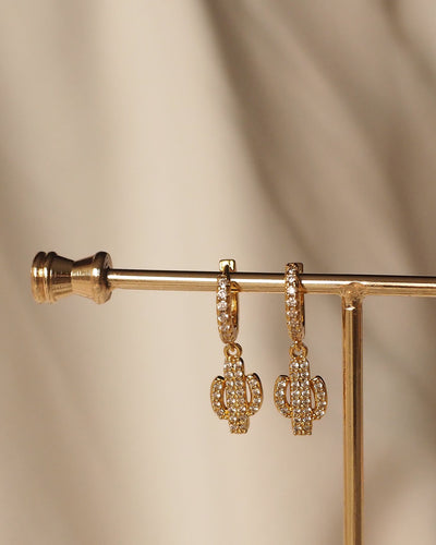 Gold Plated -  Cactus CZ Hoop Earrings