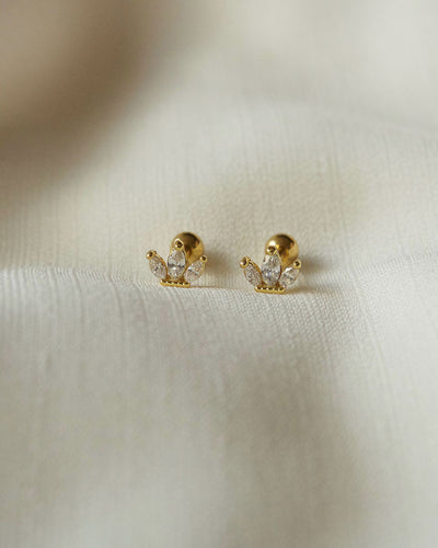 Stainless Steel - Camellia Gold Stud Earrings