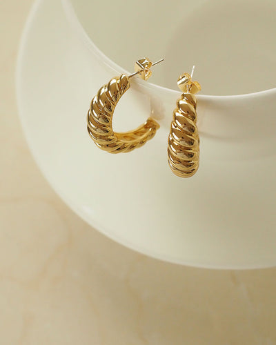 18k Gold Plated - Croissant Open Hoop Earrings