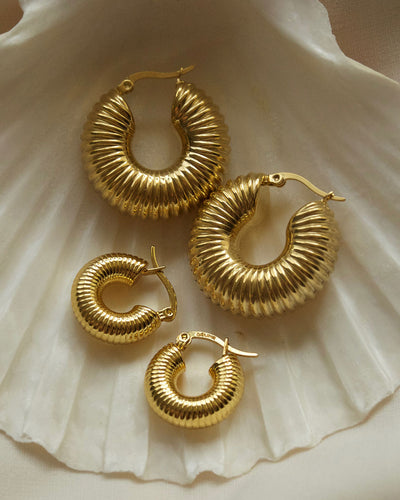 18k Gold plated - Jelena Gold Hoop Earrings (2 sizes)