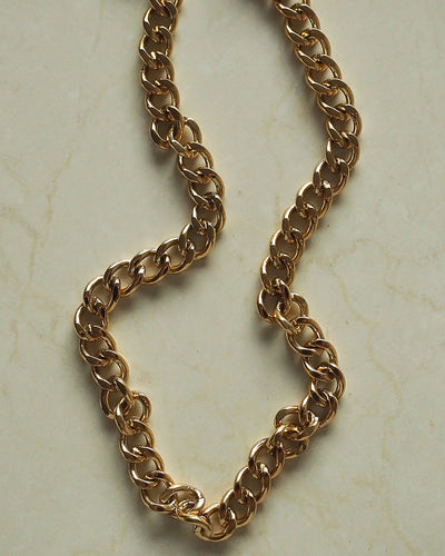 18k Gold Plated - Curb Chain Choker Necklace