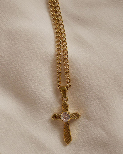 18K gold plated - CZ Cross Pendant Necklace