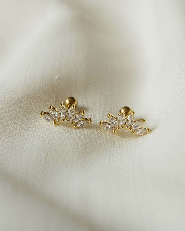 Stainless Steel - Elly Crown Stud Earrings