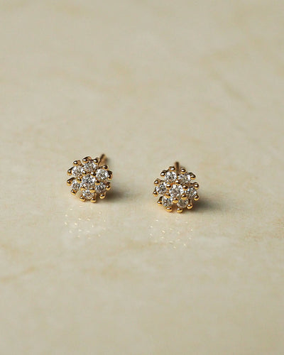 Gold Plated - CZ Margherita Gold Stud Earrings
