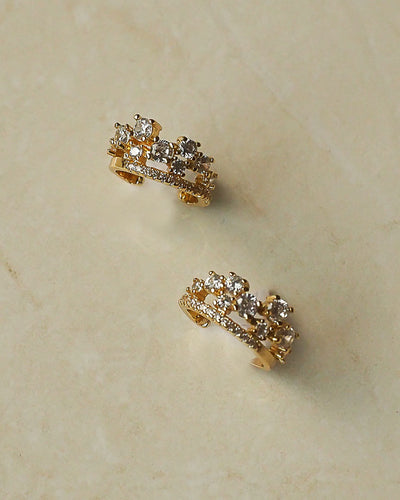 Gold Plated - CZ Crown Gold Ear Cuffs