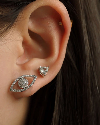 CZ Evil Eye Stud Earrings