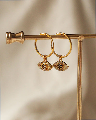 Gold Plated - Evil Eyes CZ Hoop Earrings
