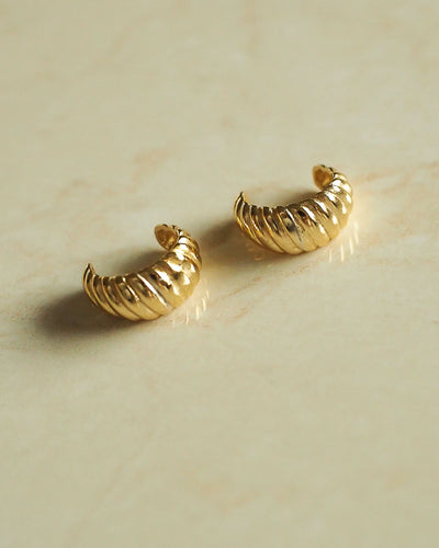 925 Sterling Silver - Croissant Cuff Earrings (Gold)