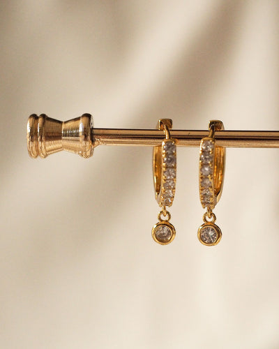 Gold Plated - Haley Drop Gems CZ Hoop Earrings