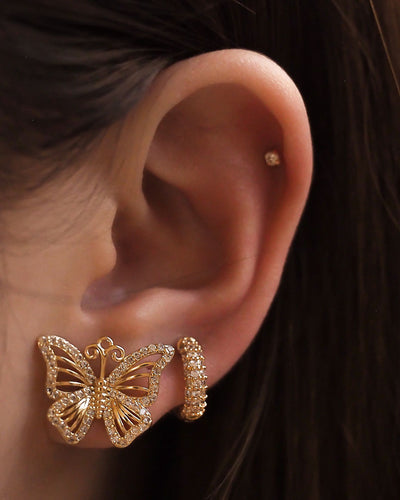 18k Gold Plated - CZ Butterfly Stud Earrings