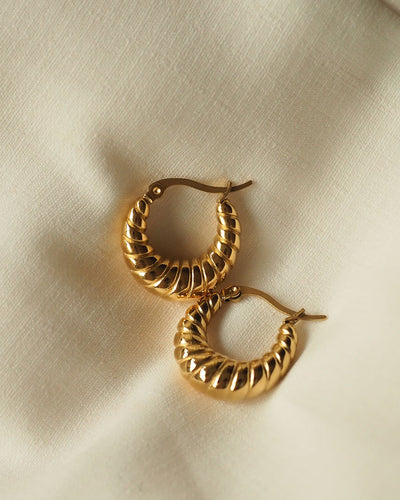 18k Gold Plated - Croissant Hoop Earrings