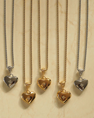 18k gold plated -  Valentine Heart Necklace (Gold, Silver)