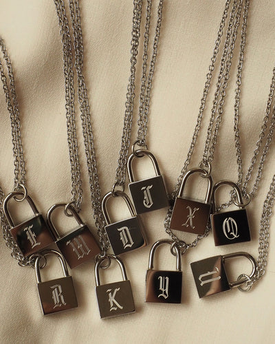 18k Gold Plated - Mae Old English Personalised Silver Lock Necklace