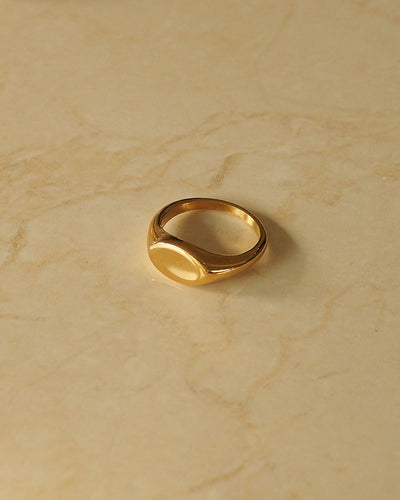 18k Gold Plated - Mel Signet Gold Ring