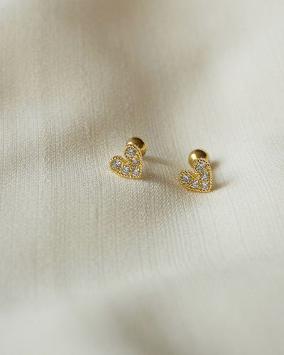 Stainless Steel - Love Gold Stud Earrings