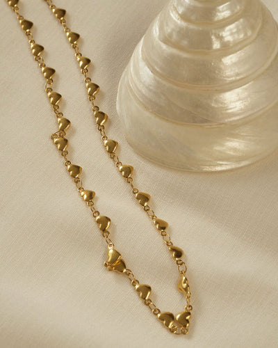 18K gold plated - Heart Choker Necklace