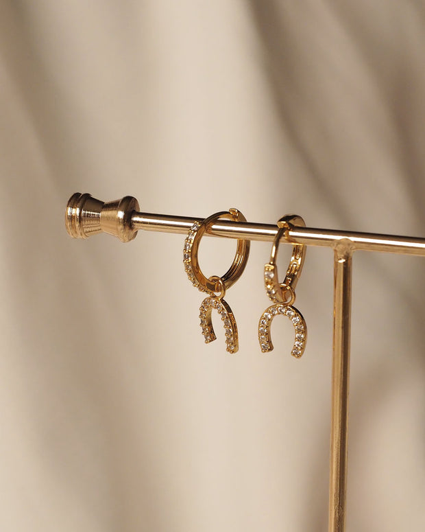 Gold Plated - Horn CZ Hoop Earrings