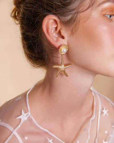 Gold Plated - La Concha Starfish Earrings