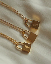18k Gold Plated - Mae Old English Personalised Gold Lock Necklace
