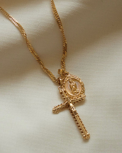 Devine - Dual Religious Pendant Necklace (Wave Chain)