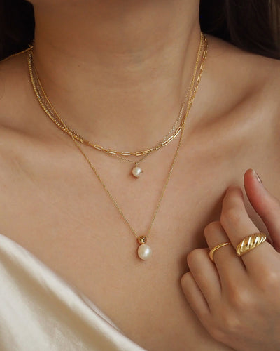 18k gold plated - Mateo Pearl Gold Necklace