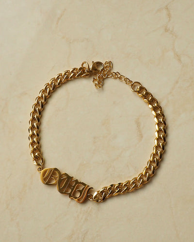 18k gold plated -  The Nameplate Personalised Bracelet (Made to Order)