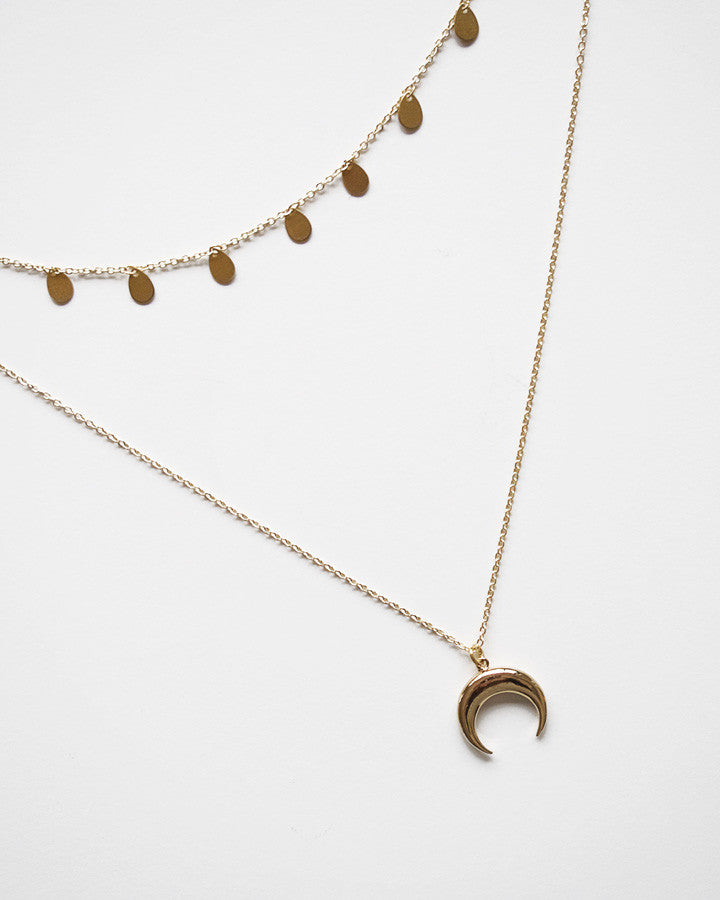 CRESCENT Moon Chain Necklace Set (Handmade)