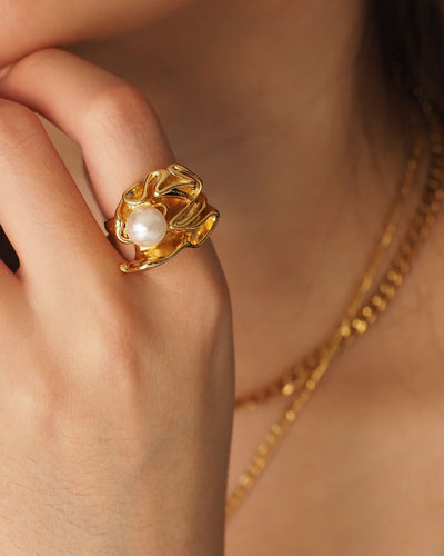 18k Gold Plated - Jen Pearl Ring