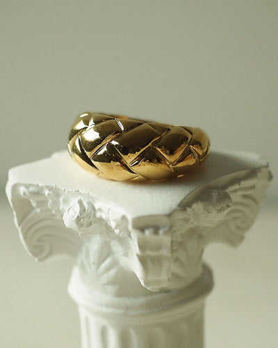 18k Gold Plated - Quilted Texture Gold Ring