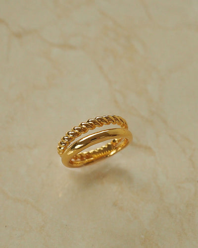 18k Gold plated - Twisted Gold Ring