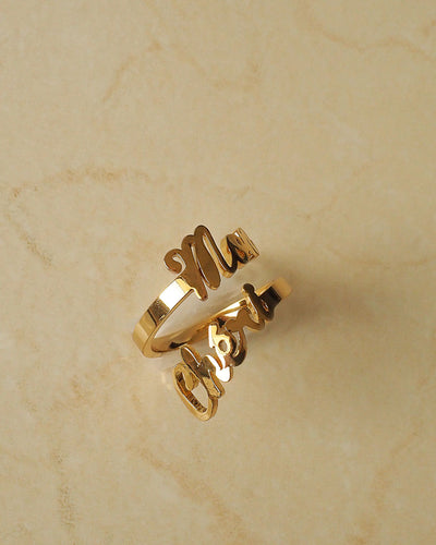 18k gold plated -  Personalised Gold Ring (Made to Order)