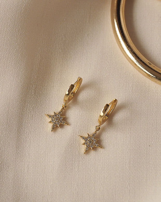 Gold Plated - Royalty Star CZ Hoop Earrings